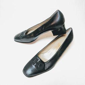Ferragamo | Vintage Black Almond Block Heel